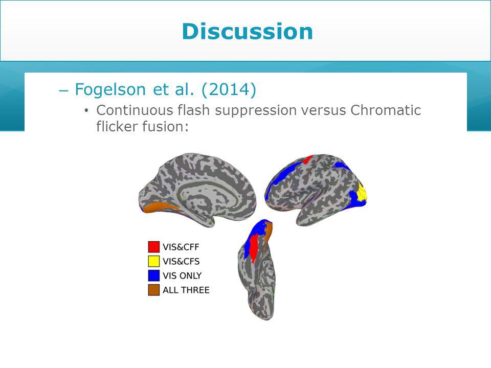 – Fogelson et al. (2014) Continuous flash suppression versus Chromatic flicker fusion: