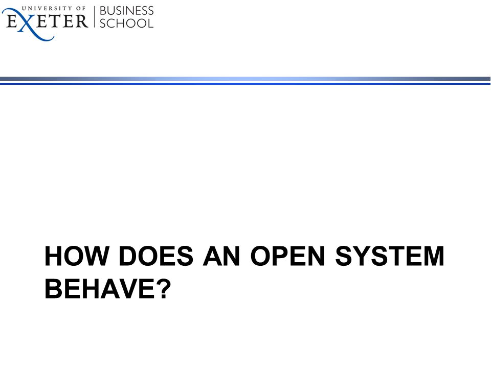 HOW DOES AN OPEN SYSTEM BEHAVE?
