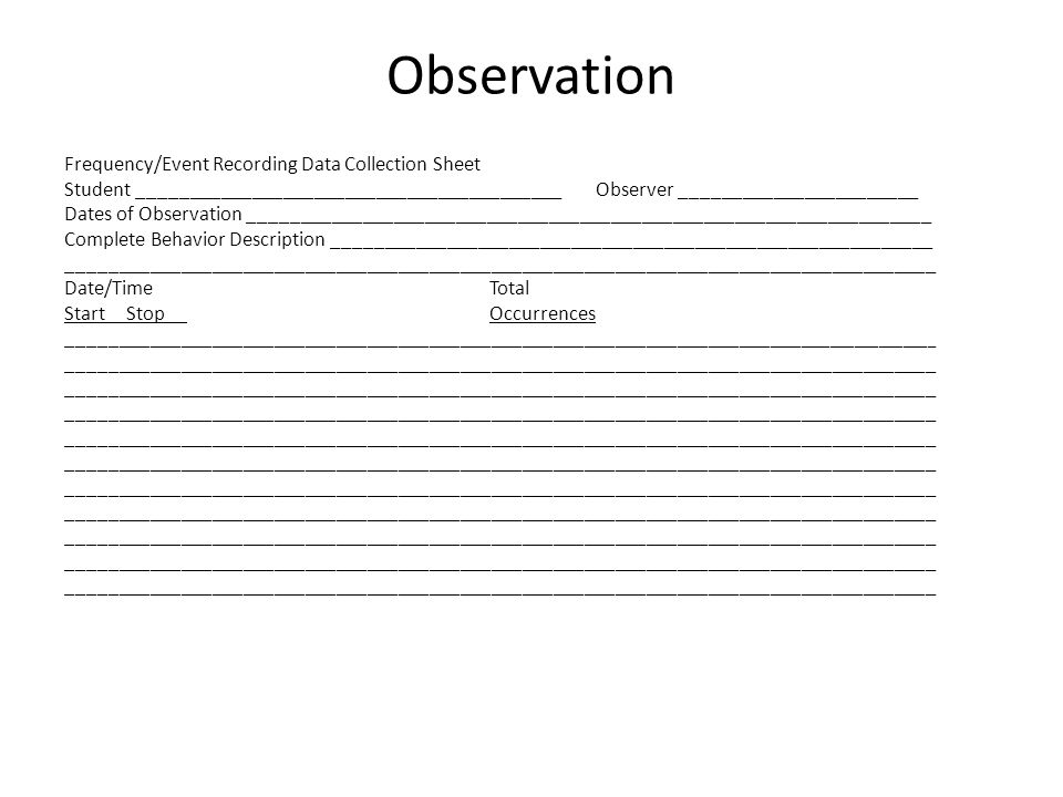 Observation Frequency/Event Recording Data Collection Sheet Student _________________________________________Observer _______________________ Dates of Observation __________________________________________________________________ Complete Behavior Description __________________________________________________________ ____________________________________________________________________________________ Date/TimeTotal Start Stop Occurrences _________________________________________________________________________ ______________ ____________________________________________________________________________________