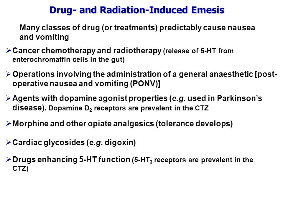 Drug- and Radiation-Induced Emesis Many classes of drug (or treatments) predictably cause nausea and vomiting  Cancer chemotherapy and radiotherapy (release of 5-HT from enterochromaffin cells in the gut)  Agents with dopamine agonist properties (e.g.