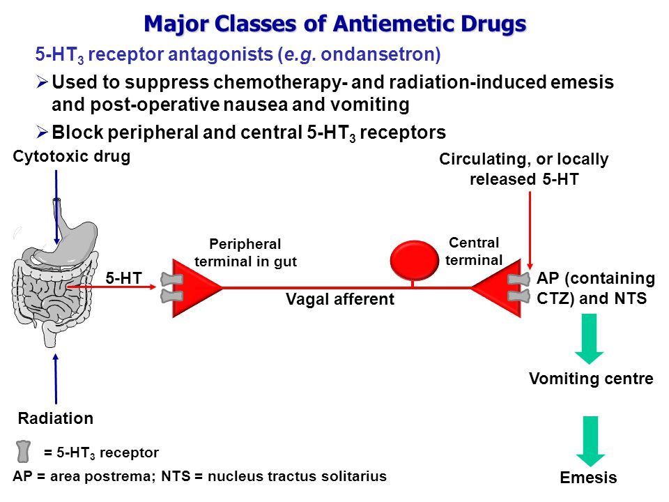 Major Classes of Antiemetic Drugs 5-HT 3 receptor antagonists (e.g.