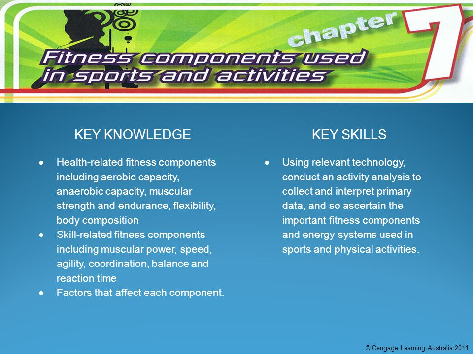 KEY KNOWLEDGEKEY SKILLS  Health-related fitness components including aerobic capacity, anaerobic capacity, muscular strength and endurance, flexibili