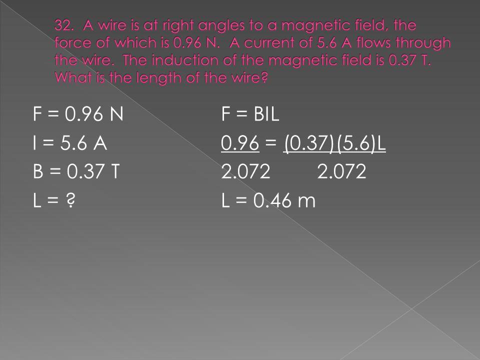 F = 0.96 NF = BIL I = 5.6 A0.96 = (0.37)(5.6)L B = 0.37 T2.0722.072 L = L = 0.46 m