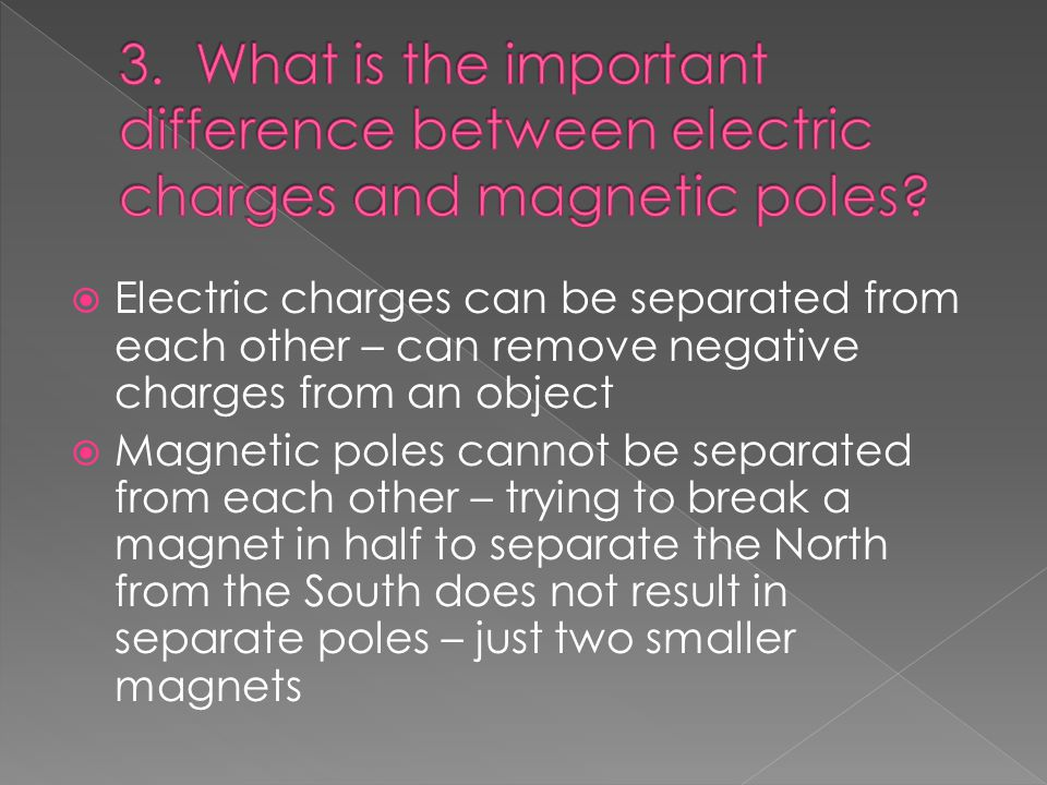  Electric charges can be separated from each other – can remove negative charges from an object  Magnetic poles cannot be separated from each other – trying to break a magnet in half to separate the North from the South does not result in separate poles – just two smaller magnets