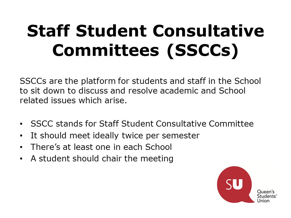 SSCCs are the platform for students and staff in the School to sit down to discuss and resolve academic and School related issues which arise.