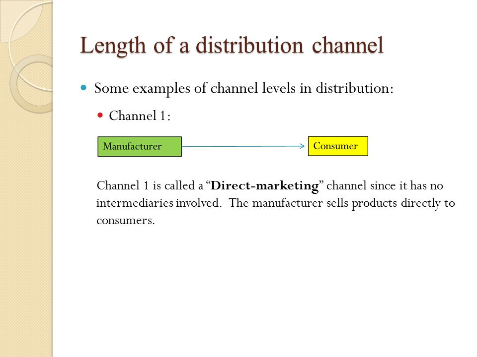 Length of a distribution channel Some examples of channel levels in distribution: Channel 1: Channel 1 is called a Direct-marketing channel since it has no intermediaries involved.