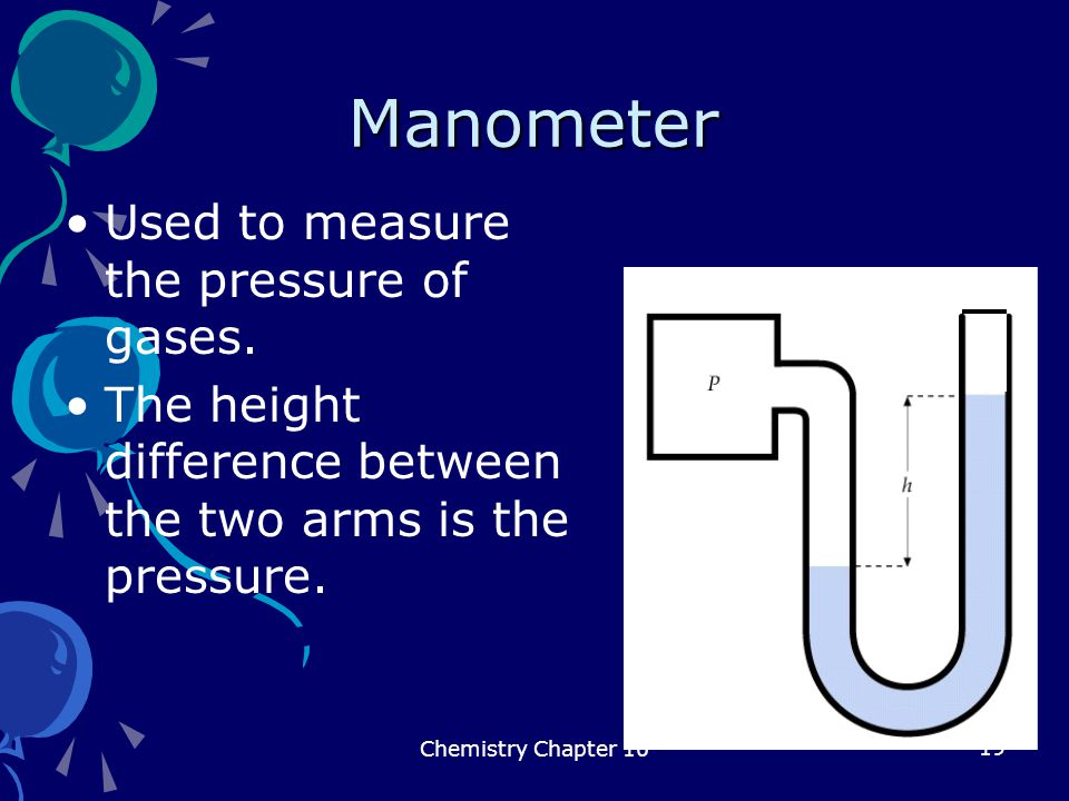 19 Manometer Used to measure the pressure of gases. The height difference between the two arms is the pressure. Chemistry Chapter 10