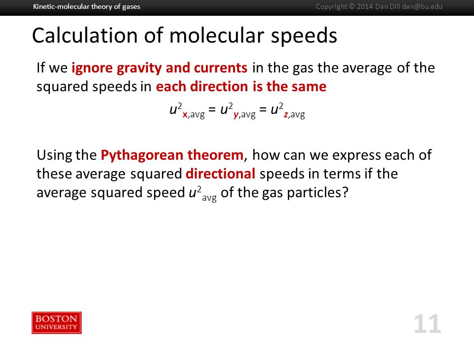 Boston University Slideshow Title Goes Here Calculation of molecular speeds If we ignore gravity and currents in the gas the average of the squared speeds in each direction is the same u 2 x,avg = u 2 y,avg = u 2 z,avg Using the Pythagorean theorem, how can we express each of these average squared directional speeds in terms if the average squared speed u 2 avg of the gas particles.