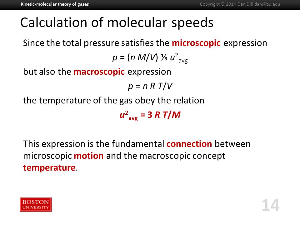 Boston University Slideshow Title Goes Here Calculation of molecular speeds Since the total pressure satisfies the microscopic expression p = (n M/V) ⅓ u 2 avg but also the macroscopic expression p = n R T/V the temperature of the gas obey the relation u 2 avg = 3 R T/M This expression is the fundamental connection between microscopic motion and the macroscopic concept temperature.