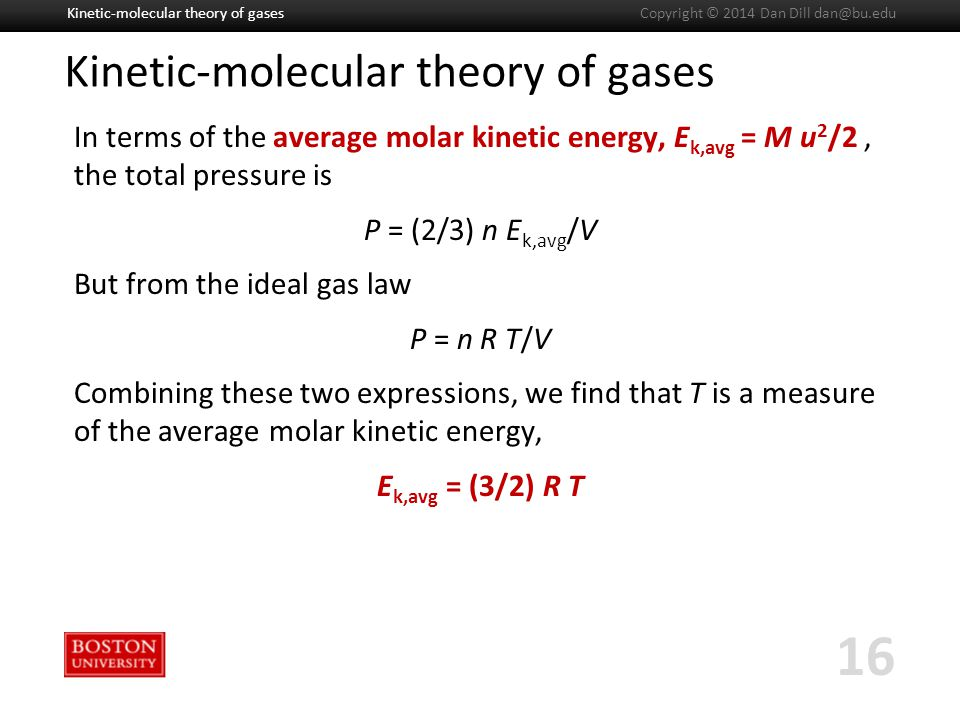 Boston University Slideshow Title Goes Here Kinetic-molecular theory of gases In terms of the average molar kinetic energy, E k,avg = M u 2 /2, the total pressure is P = (2/3) n E k,avg /V But from the ideal gas law P = n R T/V Combining these two expressions, we find that T is a measure of the average molar kinetic energy, E k,avg = (3/2) R T Kinetic-molecular theory of gases 16 Copyright © 2014 Dan Dill dan@bu.edu