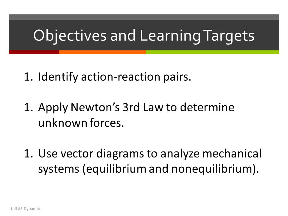 Newton's 3 rd Law of Motion Unit #3 Dynamics Newton's 3rd Law of Motion, commonly referred to as the Law of Action and Reaction, describes the phenomena by which all forces come in pairs.