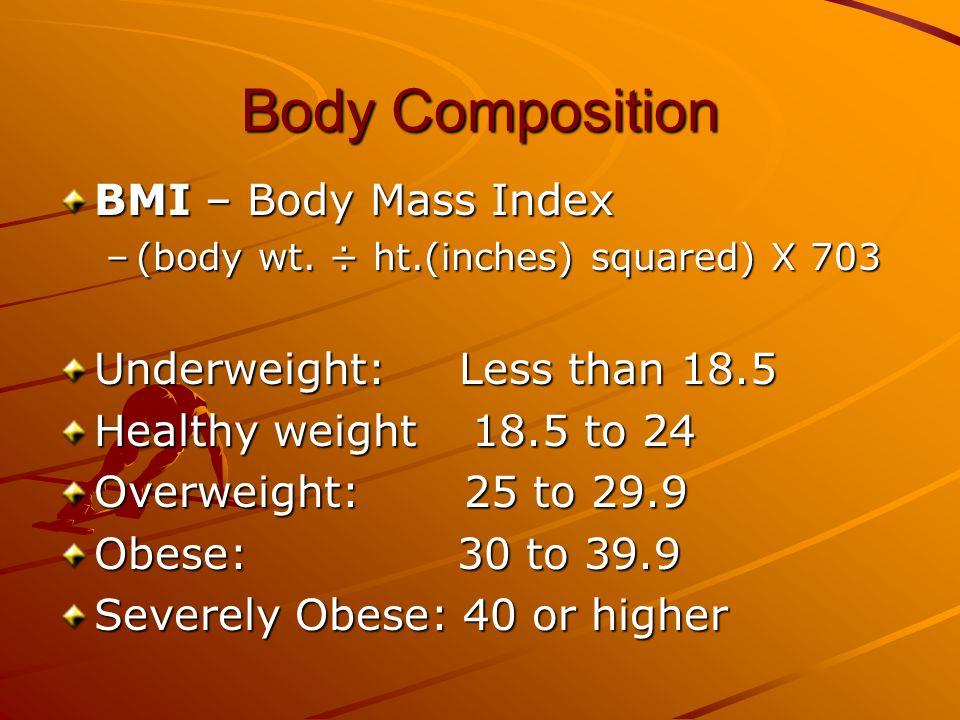 Body Composition BMI – Body Mass Index –estimates obesity –(divide body wt.
