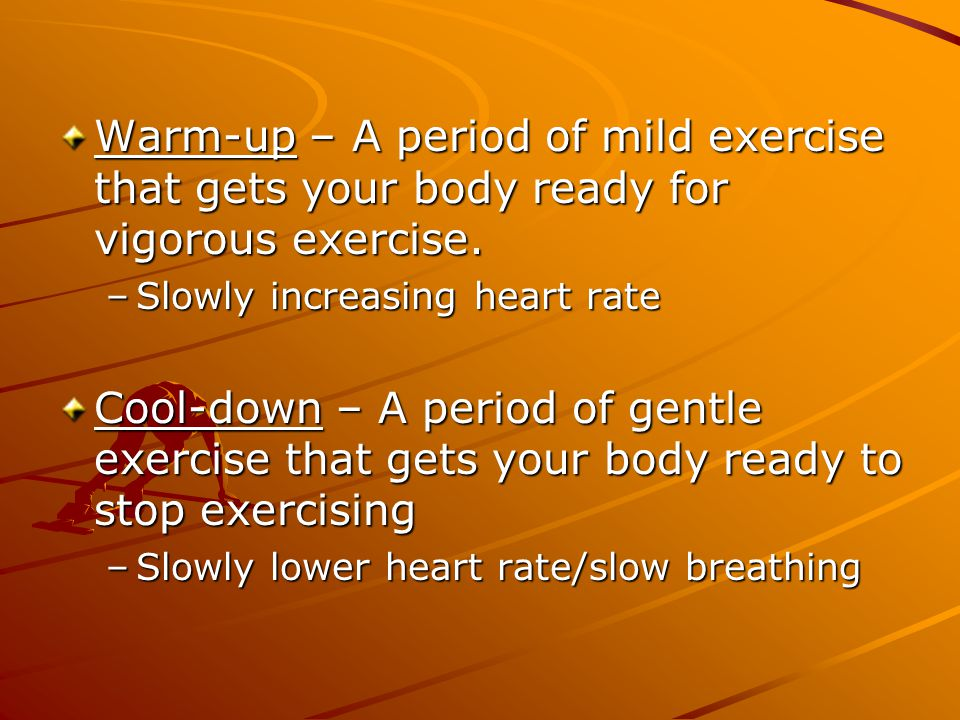FORMULA Maximum Heart Rate = 220 – AGE MHR = 220 - ___________ Target Heart Rate (Range) = During exercise –MHR X 60% = low range –MHR X 80% = high range THR = _______ to _______
