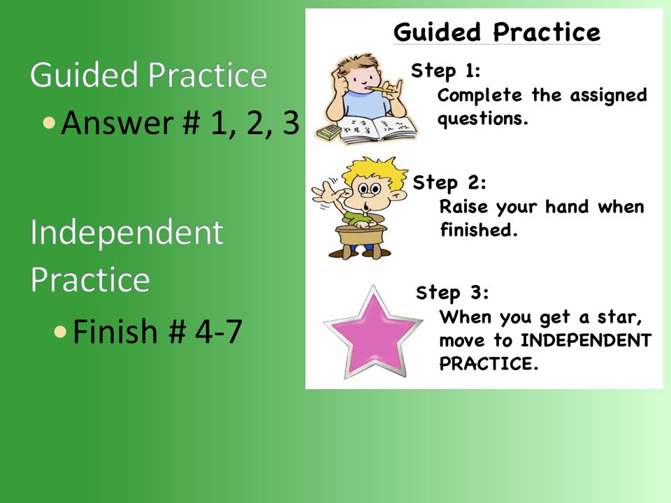 Answer # 1, 2, 3 Finish # 4-7