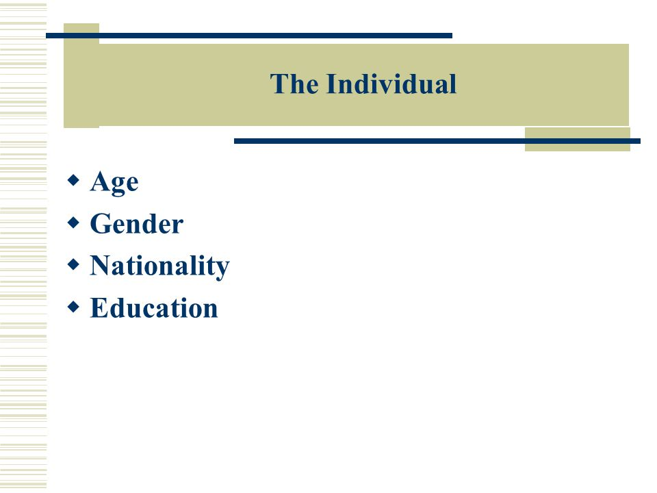 The Individual  Age  Gender  Nationality  Education