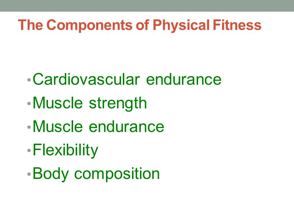 The Components of Physical Fitness Cardiovascular endurance Muscle strength Muscle endurance Flexibility Body composition