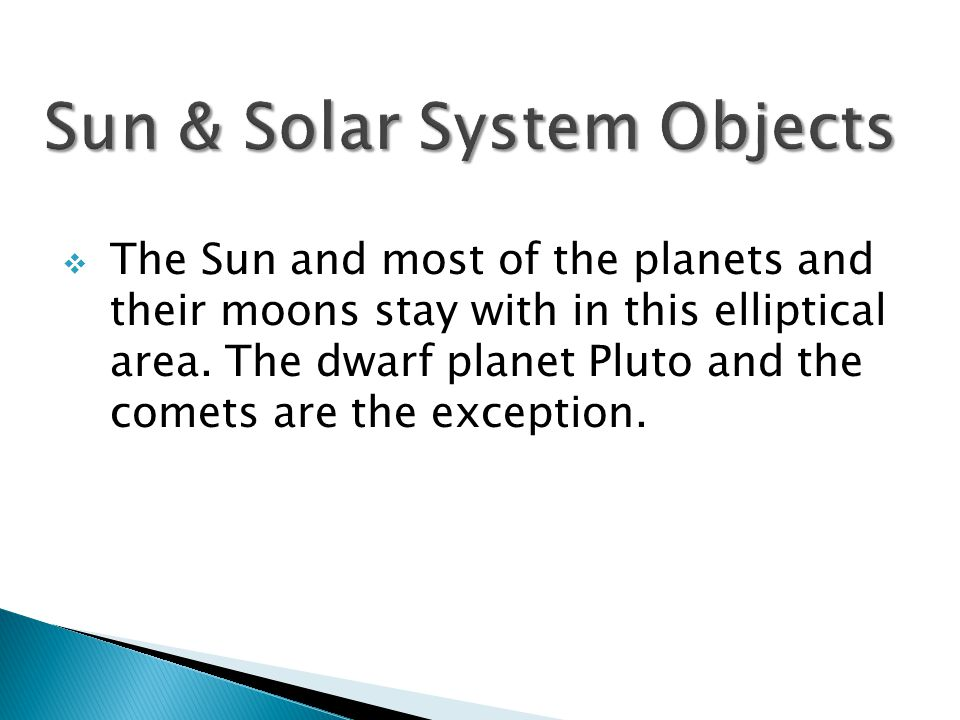  The Sun and most of the planets and their moons stay with in this elliptical area.