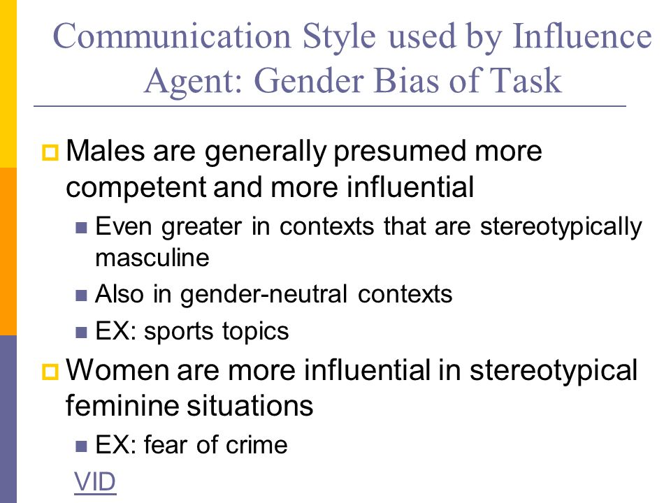 Communication Style used by Influence Agent: Gender Bias of Task  Males are generally presumed more competent and more influential Even greater in contexts that are stereotypically masculine Also in gender-neutral contexts EX: sports topics  Women are more influential in stereotypical feminine situations EX: fear of crime VID