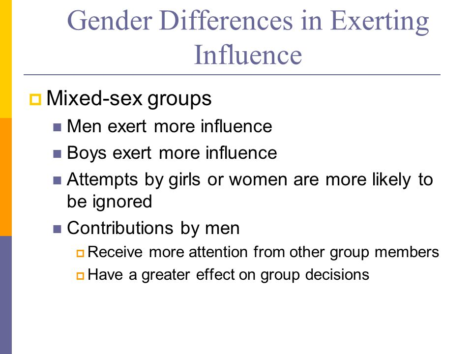 Gender Differences in Exerting Influence  Mixed-sex groups Men exert more influence Boys exert more influence Attempts by girls or women are more likely to be ignored Contributions by men  Receive more attention from other group members  Have a greater effect on group decisions