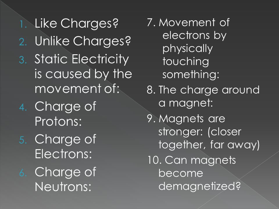 1.Like Charges. 2. Unlike Charges. 3. Static Electricity is caused by the movement of: 4.