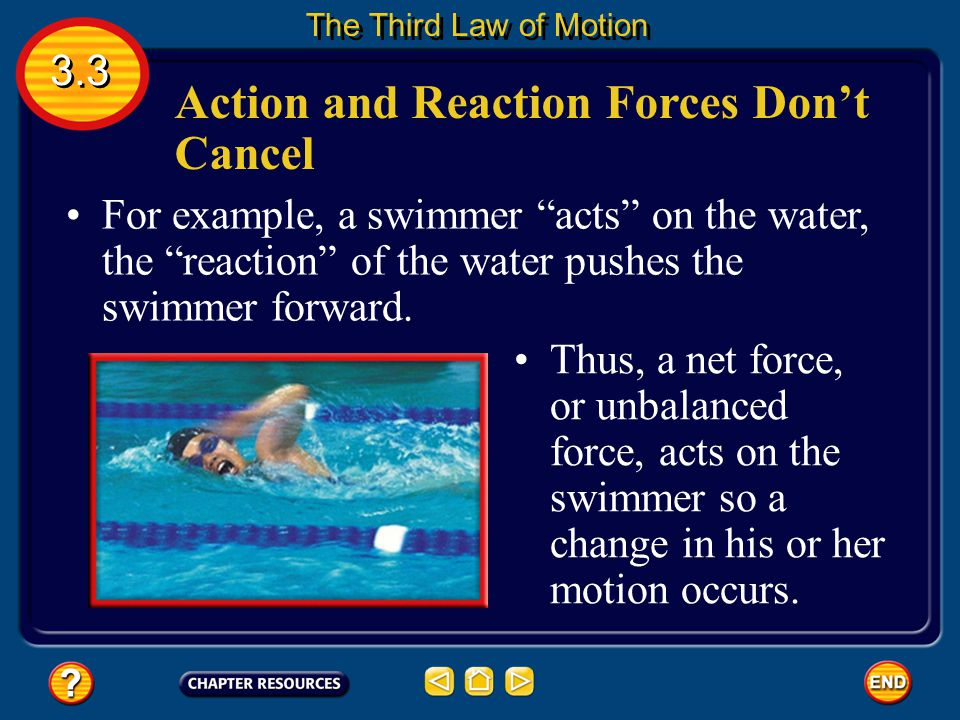 For example, a swimmer acts on the water, the reaction of the water pushes the swimmer forward.