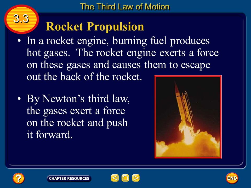 Rocket Propulsion In a rocket engine, burning fuel produces hot gases.