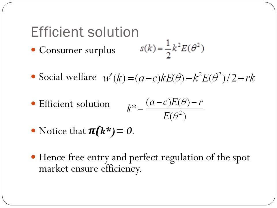 Efficient solution Consumer surplus Social welfare Efficient solution Notice that π (k*)= 0.