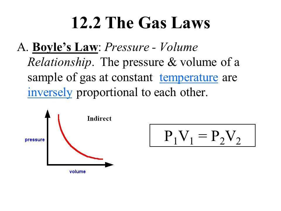 12.2 The Gas Laws A. Boyle's Law: Pressure - Volume Relationship. The pressure & volume of a sample of gas at constant temperature are inversely propo