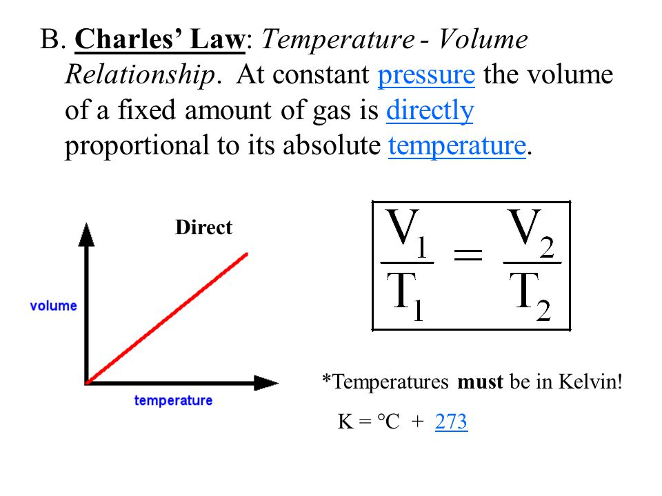 B. Charles' Law: Temperature - Volume Relationship. At constant pressure the volume of a fixed amount of gas is directly proportional to its absolute