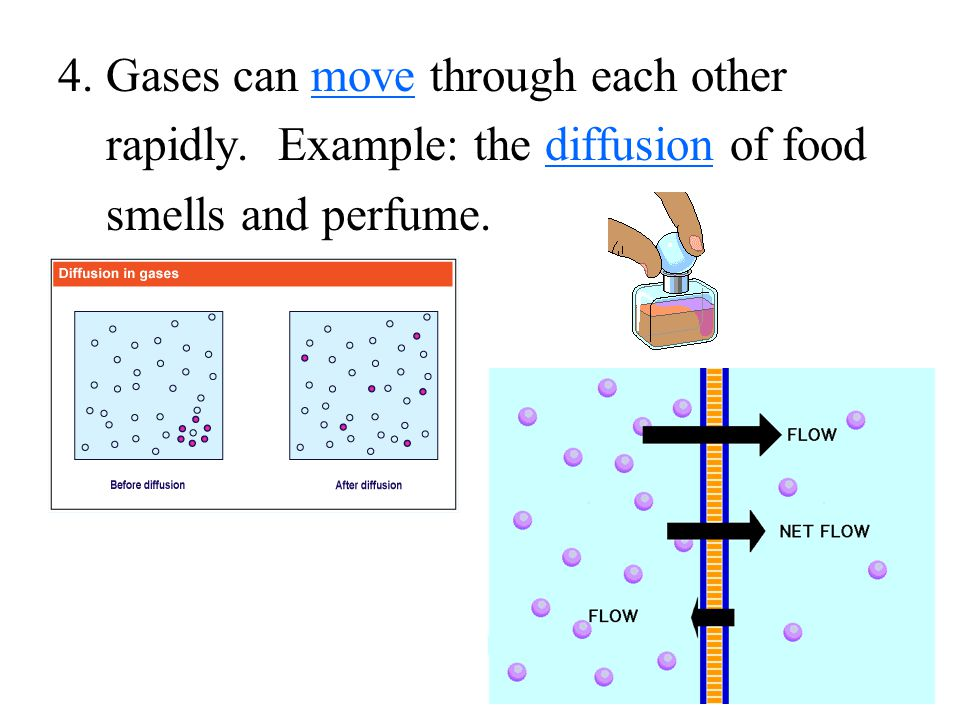 4. Gases can move through each other rapidly. Example: the diffusion of food smells and perfume.