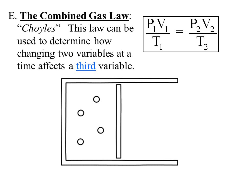 "E. The Combined Gas Law: ""Choyles"" This law can be used to determine how changing two variables at a time affects a third variable."