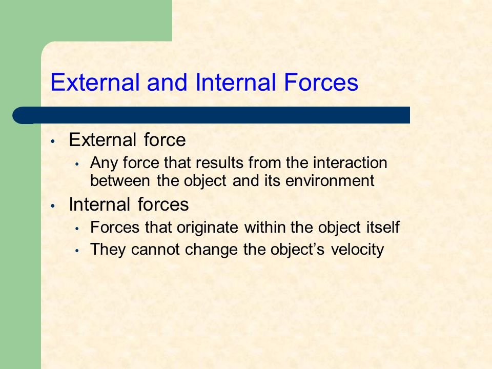 External and Internal Forces External force Any force that results from the interaction between the object and its environment Internal forces Forces that originate within the object itself They cannot change the object's velocity