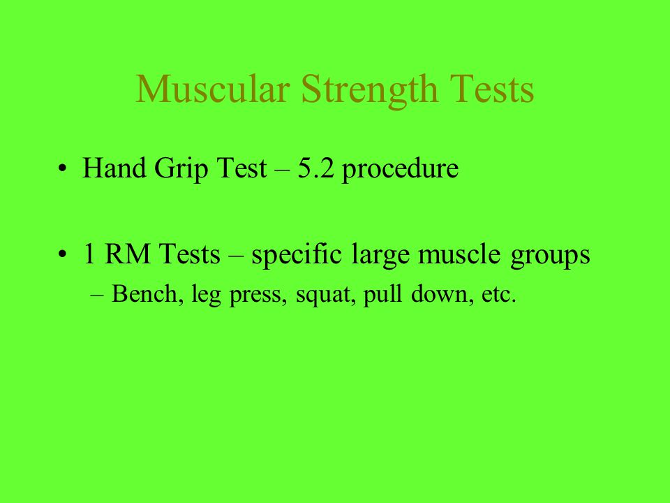 Strength Exercise Guidelines  Work all major muscle groups: chest, shoulders, back, legs, arms, hip, and trunk  Always lift with a partner  Proper warm-up  Exercise larger muscle groups first  Work opposing groups for balance  Do all lifts in a controlled manner  Lift through the entire ROM  Breathe evenly  Inhale during eccentric (bringing wt.