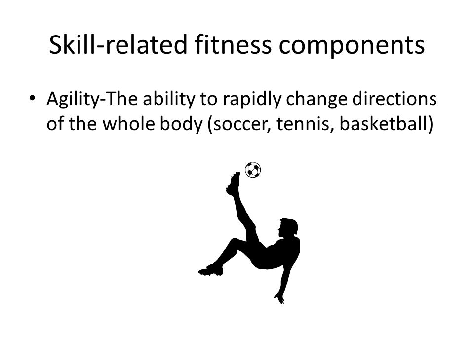 Skill-related fitness components Agility-The ability to rapidly change directions of the whole body (soccer, tennis, basketball)