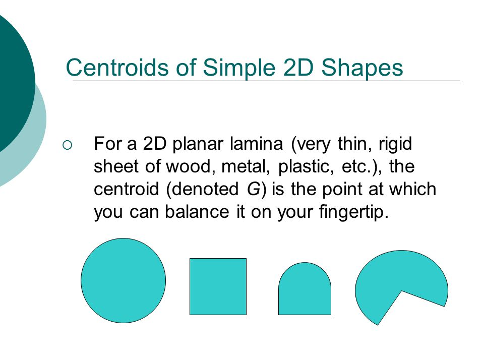 Centroids of Simple 2D Shapes  For a 2D planar lamina (very thin, rigid sheet of wood, metal, plastic, etc.), the centroid (denoted G) is the point at which you can balance it on your fingertip.