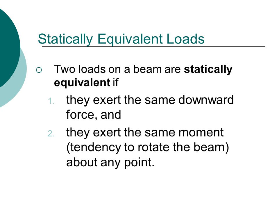 Statically Equivalent Loads  Two loads on a beam are statically equivalent if 1.