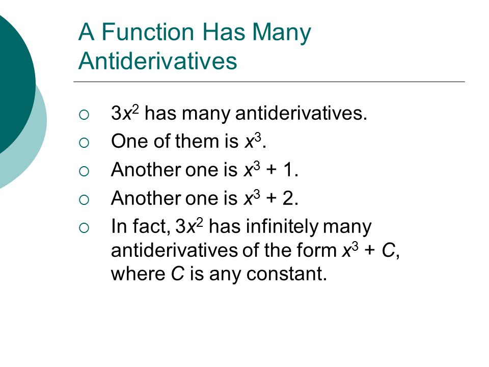 A Function Has Many Antiderivatives  3x 2 has many antiderivatives.