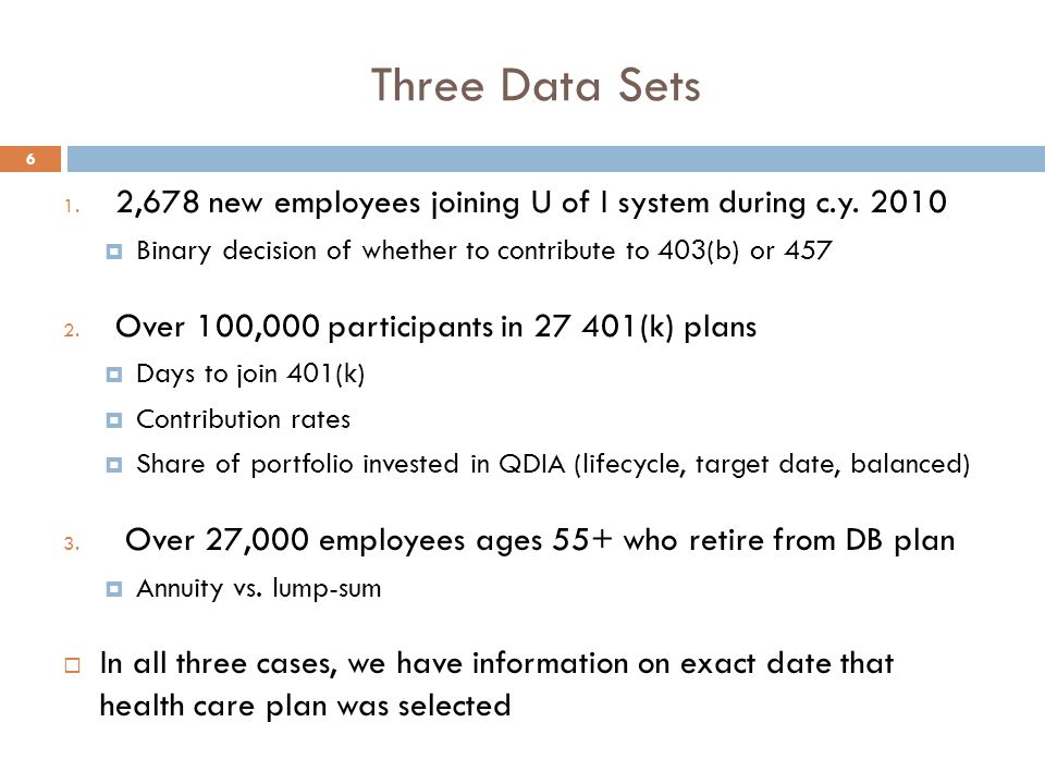 Three Data Sets 1. 2,678 new employees joining U of I system during c.y.