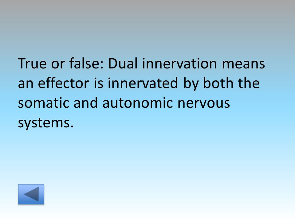 True or false: Dual innervation means an effector is innervated by both the somatic and autonomic nervous systems.