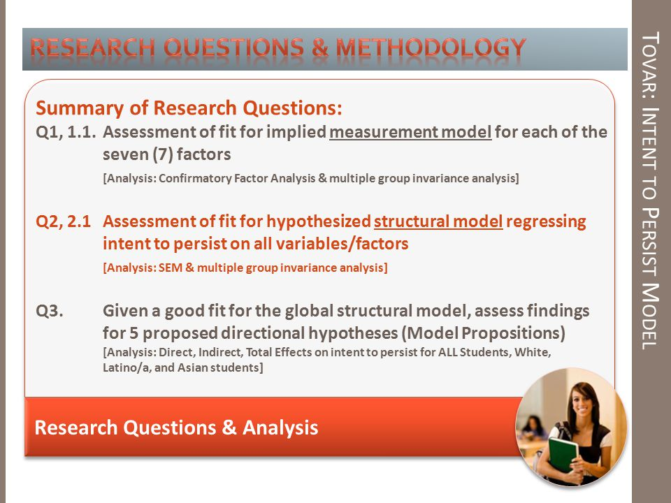 T OVAR : I NTENT TO P ERSIST M ODEL Research Questions & Analysis Summary of Research Questions: Q1, 1.1.Assessment of fit for implied measurement model for each of the seven (7) factors [Analysis: Confirmatory Factor Analysis & multiple group invariance analysis] Q2, 2.1Assessment of fit for hypothesized structural model regressing intent to persist on all variables/factors [Analysis: SEM & multiple group invariance analysis] Q3.Given a good fit for the global structural model, assess findings for 5 proposed directional hypotheses (Model Propositions) [Analysis: Direct, Indirect, Total Effects on intent to persist for ALL Students, White, Latino/a, and Asian students]