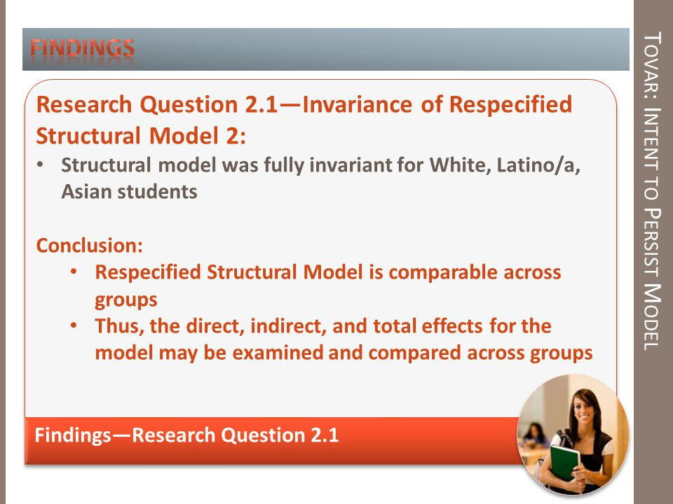 T OVAR : I NTENT TO P ERSIST M ODEL Findings—Research Question 2.1 Research Question 2.1—Invariance of Respecified Structural Model 2: Structural model was fully invariant for White, Latino/a, Asian students Conclusion: Respecified Structural Model is comparable across groups Thus, the direct, indirect, and total effects for the model may be examined and compared across groups