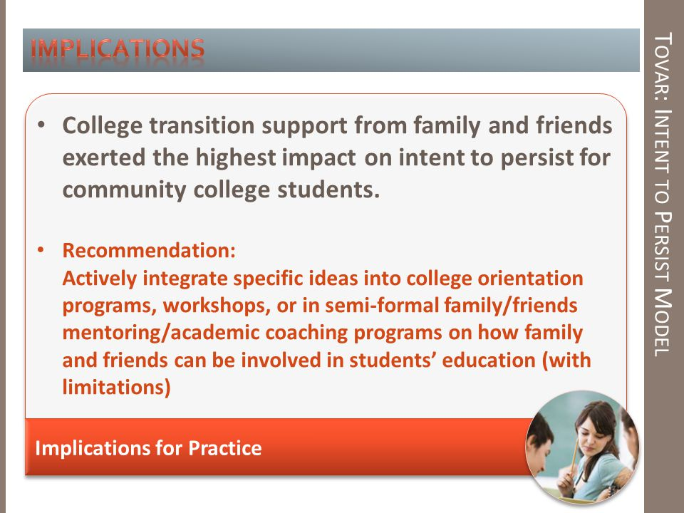 T OVAR : I NTENT TO P ERSIST M ODEL Implications for Practice College transition support from family and friends exerted the highest impact on intent to persist for community college students.