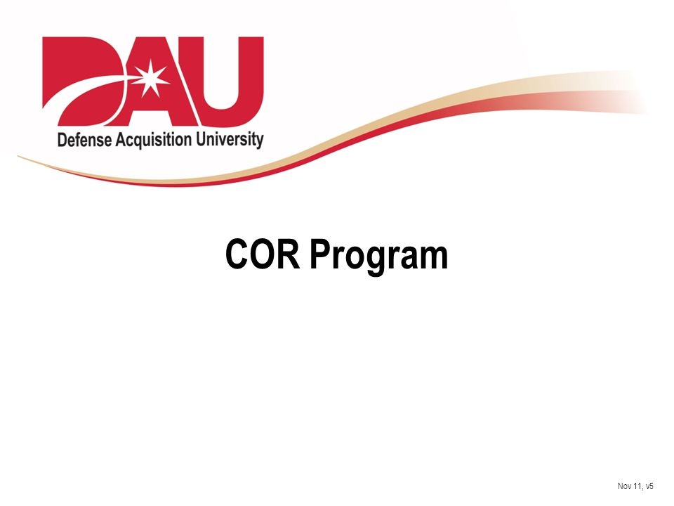 COR Program Nov 11, v5