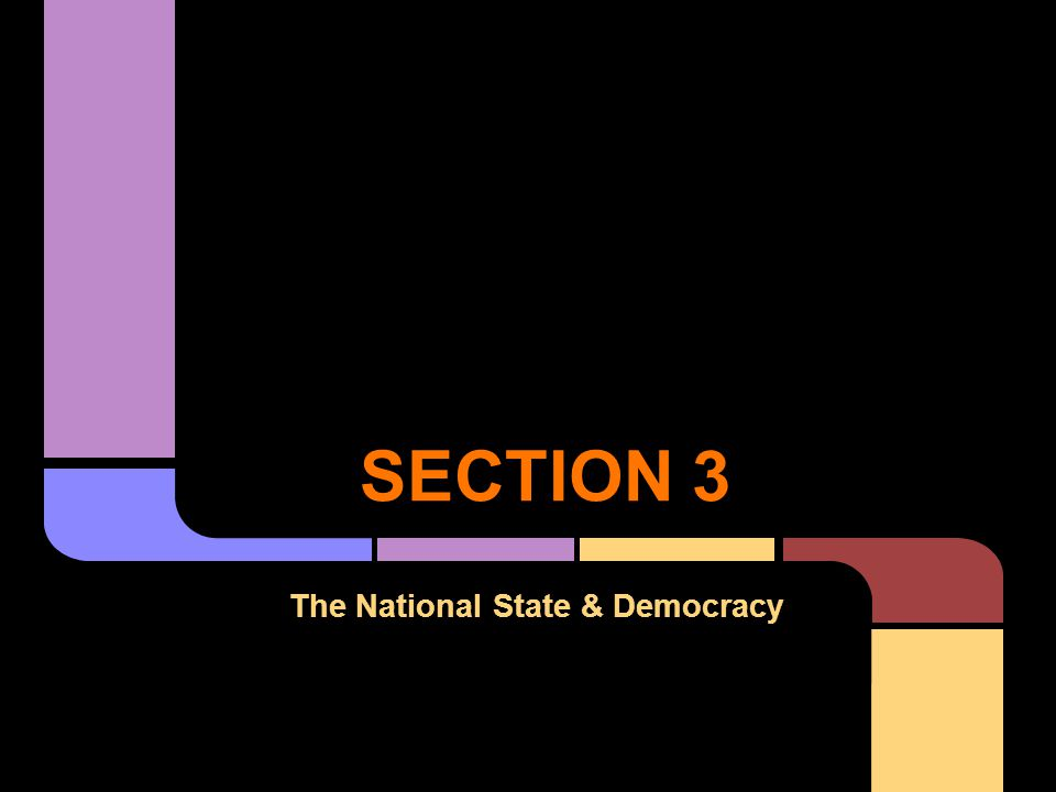 SECTION 3 The National State & Democracy