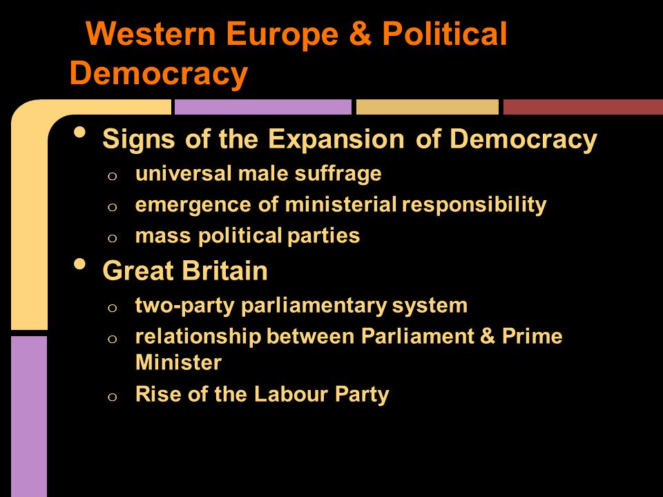 Signs of the Expansion of Democracy o universal male suffrage o emergence of ministerial responsibility o mass political parties Great Britain o two-party parliamentary system o relationship between Parliament & Prime Minister o Rise of the Labour Party Western Europe & Political Democracy