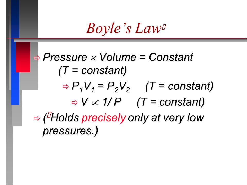 Boyle's Law ★  Pressure  Volume = Constant (T = constant)  P 1 V 1 = P 2 V 2 (T = constant)  V  1/ P (T = constant)  ( ★ Holds precisely only at very low pressures.)