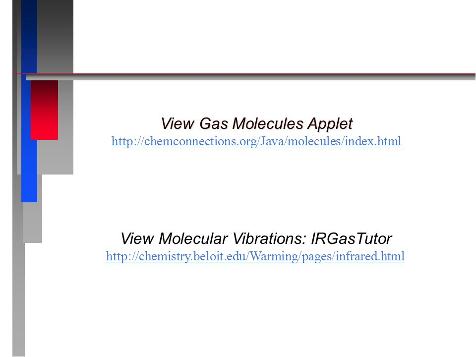 View Gas Molecules Applet View Gas Molecules Applet http://chemconnections.org/Java/molecules/index.html View Molecular Vibrations: IRGasTutor http://chemistry.beloit.edu/Warming/pages/infrared.html