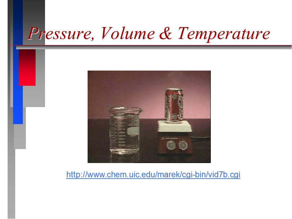 Pressure, Volume & Temperature http://www.chem.uic.edu/marek/cgi-bin/vid7b.cgi