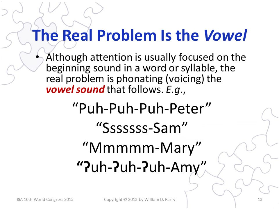 The Real Problem Is the Vowel Although attention is usually focused on the beginning sound in a word or syllable, the real problem is phonating (voicing) the vowel sound that follows.
