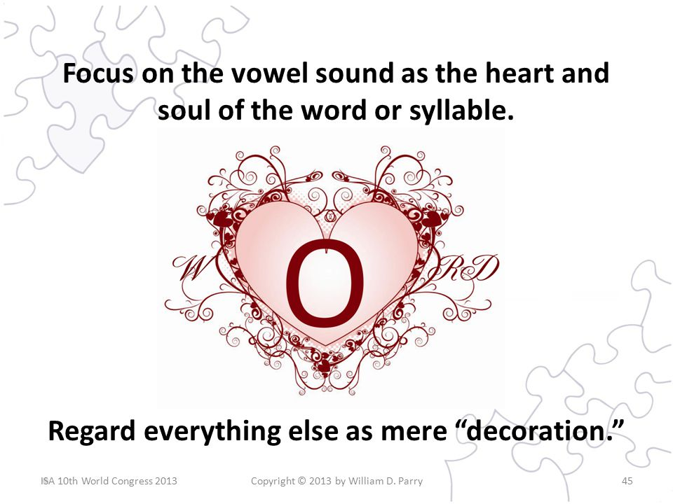 Focus on the vowel sound as the heart and soul of the word or syllable.